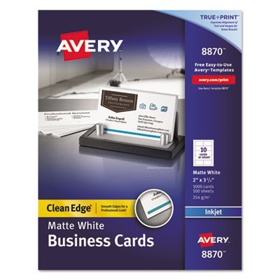 True Print Clean Edge Business Cards, Inkjet, 2 X 3 1/2, White, 1000/box