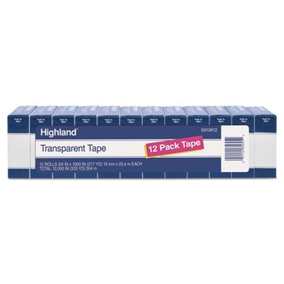 "TRANSPARENT TAPE, 1"" CORE, 0.75"" X 83.33 FT, CLEAR, 12/PACK"