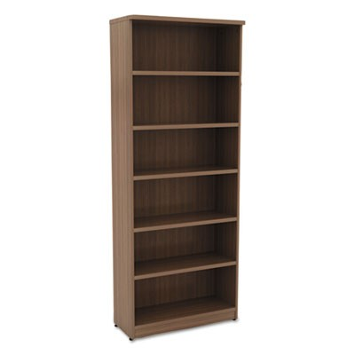 ALERA VALENCIA SERIES BOOKCASE, SIX-SHELF, 31 3/4W X 14D X 80 1/4H, MOD WALNUT