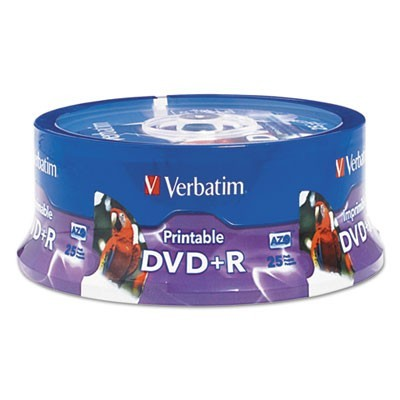 Dvd+r, 4.7gb, 16x, White Inkjet Printable, Hub Printable, 25/pk Spindle