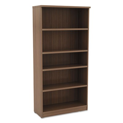 ALERA VALENCIA SERIES BOOKCASE, FIVE-SHELF, 31 3/4W X 14D X 64 3/4H, MODERN WALNUT