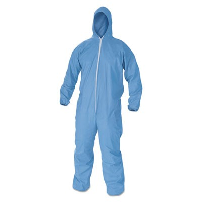 A65 Flame Resistant Hooded Coveralls, 6x-Large, Blue, 21/carton