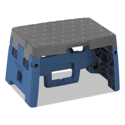 "FOLDING STEP STOOL, 1-STEP, 300 LB CAPACITY, 8.5"" WORKING HEIGHT, BLUE/GRAY"