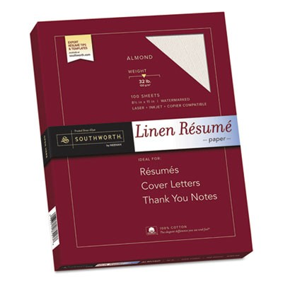 100% COTTON PREMIUM WEIGHT LINEN RESUME PAPER, 32 LB, 8.5 X 11, ALMOND, 100/PACK
