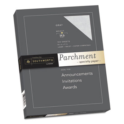 PARCHMENT SPECIALTY PAPER, 24 LB, 8.5 X 11, GRAY, 100/PACK