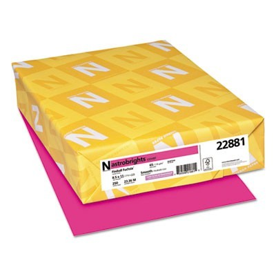 COLOR CARDSTOCK, 65LB, 8.5 X 11, FIREBALL FUCHSIA, 250/PACK