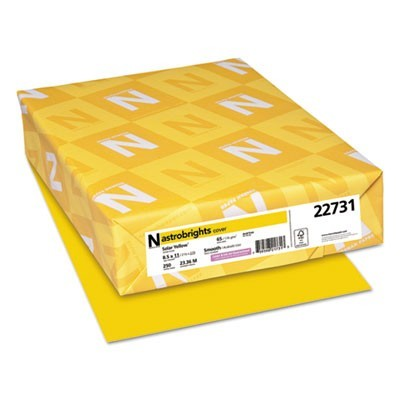 COLOR CARDSTOCK, 65LB, 8.5 X 11, SOLAR YELLOW, 250/PACK