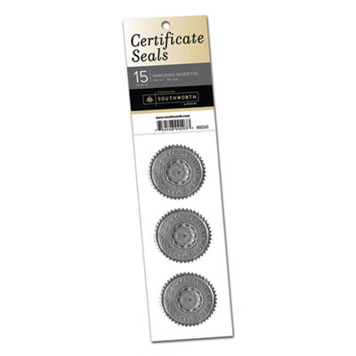 "CERTIFICATE SEALS, 1.75"" DIA., SILVER, 3/SHEET, 5 SHEETS/PACK"