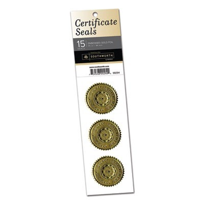 "CERTIFICATE SEALS, 1.75"" DIA., GOLD, 3/SHEET, 5 SHEETS/PACK"