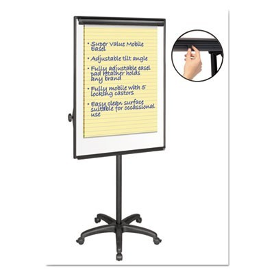 "Silver Easy Clean Dry Erase Mobile Presentation Easel, 44"" To 75-1/4"" High"