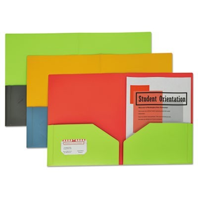 Two-Tone Two-Pocket Super Heavyweight Poly Portfolio, Letter, Assorted, 6/pack