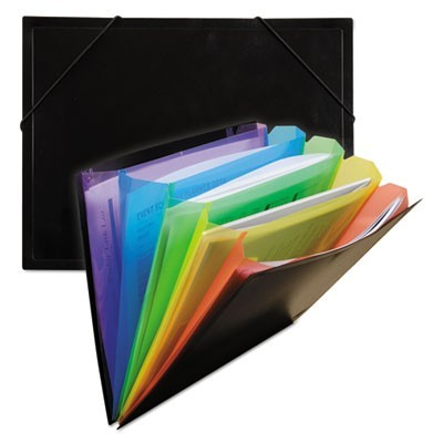 "RAINBOW DOCUMENT SORTER/CASE, 5"" EXPANSION, 5 SECTIONS, LETTER SIZE, BLACK/MULTICOLOR"