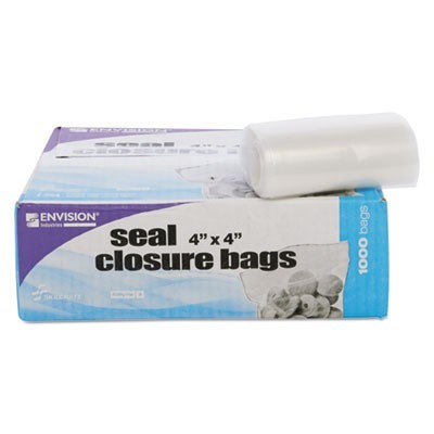 "SEAL CLOSURE BAGS, 2 MIL, 4"" X 4"", CLEAR, 1,000/CARTON"