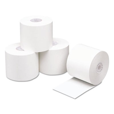 "DIRECT THERMAL PRINTING PAPER ROLLS, 0.45"" CORE, 2.25"" X 230 FT, WHITE, 50/CARTON"