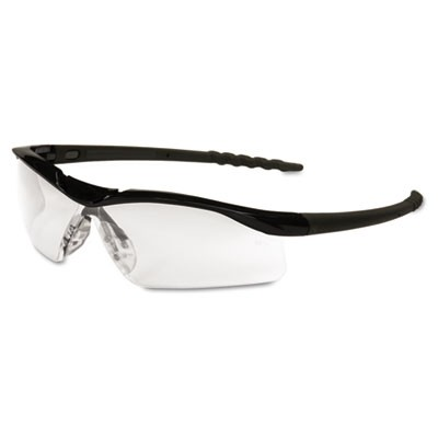Dallas Wraparound Safety Glasses, Black Frame, Clear Lens
