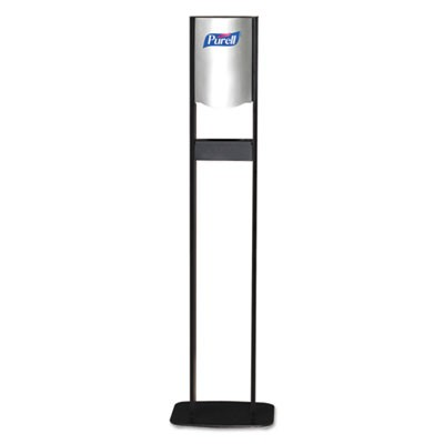 "ELITE TFX FLOOR STAND DISPENSER STATION, 1200 ML, 26.8"" X 9.5"" X 60"", CHROME/BLACK, 2/CARTON"