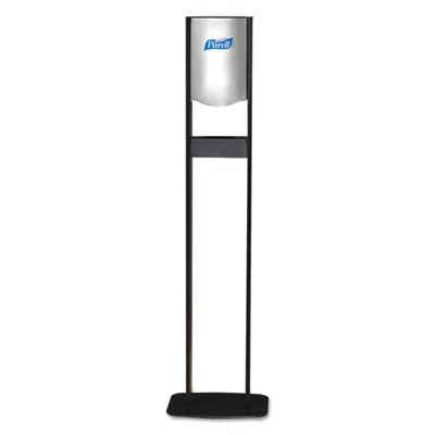 "ELITE LTX FLOOR STAND DISPENSER STATION, 1200 ML, 15.25"" X 9.86"" X 58.1"", CHROME/BLACK"