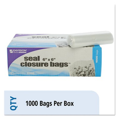 "SEAL CLOSURE BAGS, 2 MIL, 6"" X 6"", CLEAR, 1,000/CARTON"