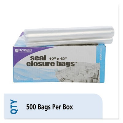 "SEAL CLOSURE BAGS, 2 MIL, 12"" X 12"", CLEAR, 500/CARTON"