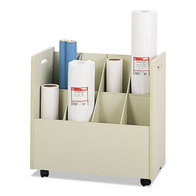 LAMINATE MOBILE ROLL FILES, 8 COMPARTMENTS, 30.13W X 15.75D X 29.25H, PUTTY