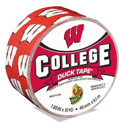 "COLLEGE DUCKTAPE, UNIVERSITY OF WISCONSIN BADGERS, 3"" CORE, 1.88"" X 10 YDS, CARDINAL/WHITE"