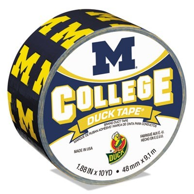 "COLLEGE DUCKTAPE, UNIVERSITY OF MICHIGAN WOLVERINES, 3"" CORE, 1.88"" X 10 YDS, BLUE/MAIZE"