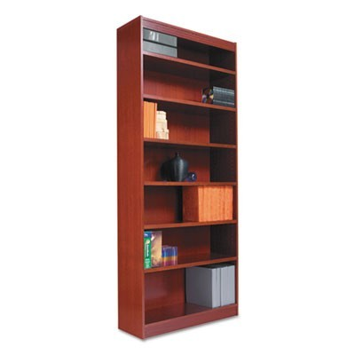 "SQUARE CORNER WOOD BOOKCASE, SIX-SHELF, 35.63""W X 11.81""D X 71.73""H, MEDIUM CHERRY"