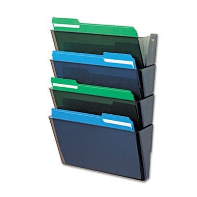 DOCUPOCKET STACKABLE FOUR-POCKET WALL FILE, LETTER, 13 X 4 X 7, SMOKE