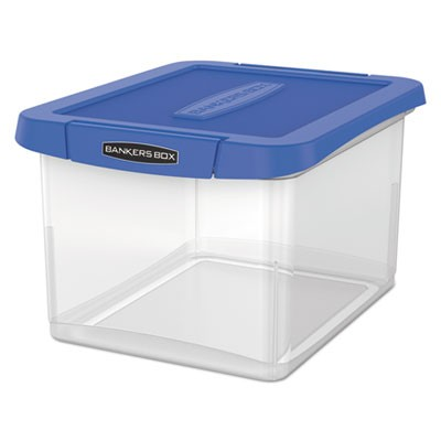 "HEAVY DUTY PLASTIC FILE STORAGE, LETTER/LEGAL FILES, 14"" X 17.38"" X 10.5"", CLEAR/BLUE, 2/PACK"