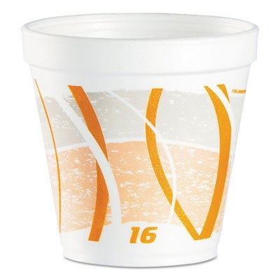 FOAM CONTAINER, 16 OZ, ORANGE/GRAY, 500/CARTON