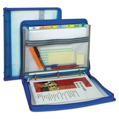 "ZIPPERED BINDER W/ EXPANDING FILE, 2"" OVERALL EXPANSION, 7 SECTIONS, LETTER SIZE, BRIGHT BLUE"