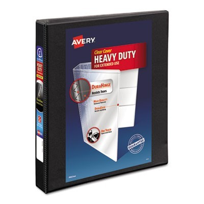 "HEAVY-DUTY NON STICK VIEW BINDER WITH DURAHINGE AND SLANT RINGS, 3 RINGS, 1"" CAPACITY, 11 X 8.5, BLACK"