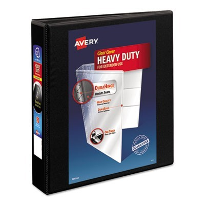 "HEAVY-DUTY NON STICK VIEW BINDER WITH DURAHINGE AND SLANT RINGS, 3 RINGS, 1.5"" CAPACITY, 11 X 8.5, BLACK"