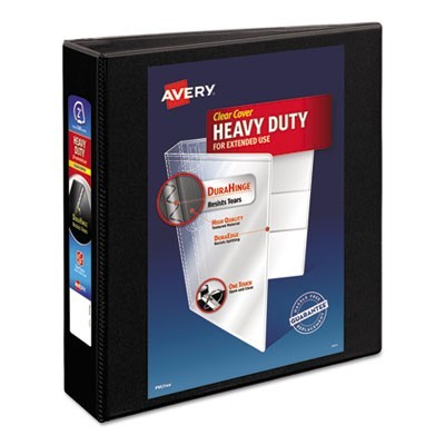"HEAVY-DUTY NON STICK VIEW BINDER WITH DURAHINGE AND SLANT RINGS, 3 RINGS, 2"" CAPACITY, 11 X 8.5, BLACK"