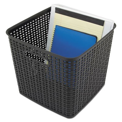 "EXTRA LARGE WEAVE BIN, 12.5"" X 11.13"", BLACK, 2/PACK"