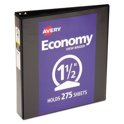 "ECONOMY VIEW BINDER WITH ROUND RINGS , 3 RINGS, 1.5"" CAPACITY, 11 X 8.5, BLACK"