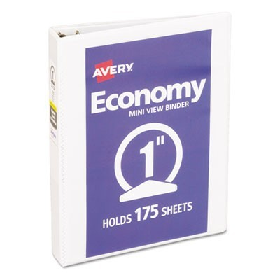 "ECONOMY VIEW BINDER WITH ROUND RINGS , 3 RINGS, 1"" CAPACITY, 8.5 X 5.5, WHITE"