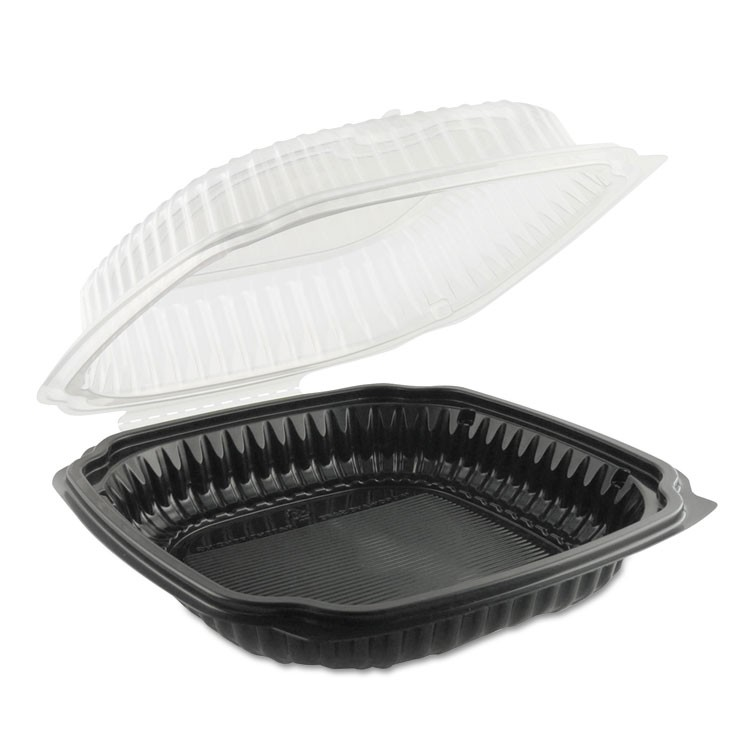 Culinary Classics Microwavable Container, 47.5 Oz, Clear/black, 100/carton