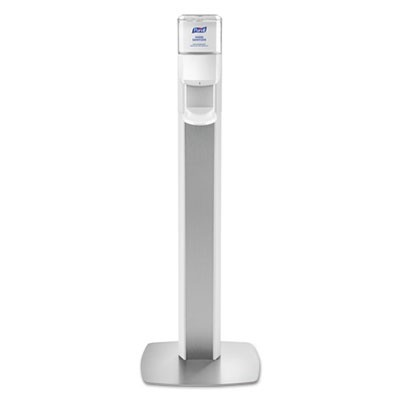 "MESSENGER ES6 FLOOR STAND WITH DISPENSER, 1200 ML, 13.16"" X 16.63"" X 51.57"", SILVER/WHITE"