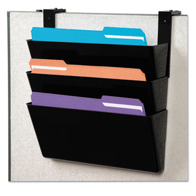 DOCUPOCKET STACKABLE THREE-POCKET PARTITION WALL FILE, LETTER, 13 X 4 X 7, BLACK