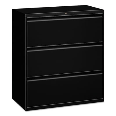 THREE-DRAWER LATERAL FILE CABINET, 30W X 18D X 39.5H, BLACK
