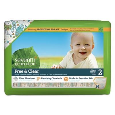 FREE AND CLEAR BABY DIAPERS, SIZE 2, 12 LBS TO 18 LBS, 36/PACK