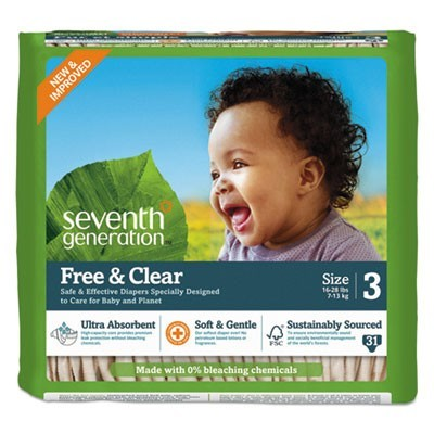 FREE AND CLEAR BABY DIAPERS, SIZE 3, 16 LBS TO 24 LBS, 31/PACK