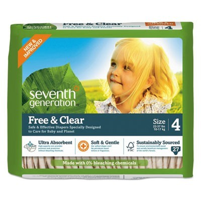 FREE AND CLEAR BABY DIAPERS, SIZE 4, 22 LBS TO 32 LBS, 27/PACK