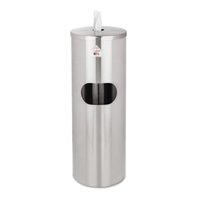 Standing Stainless Wipes Dispener, Cylindrical, 5gal, Stainless Steel
