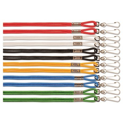 "LANYARD, J-HOOK STYLE, 20"" LONG, ASSORTED COLORS, 12/PACK"