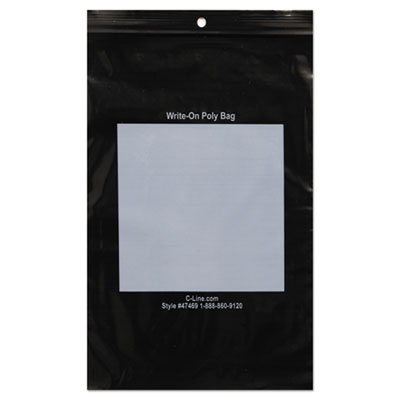 "WRITE-ON POLY BAGS, 2 MIL, 6"" X 9"", BLACK, 1,000/BOX"