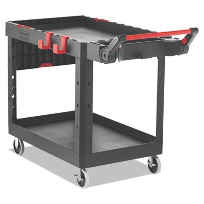 HEAVY DUTY ADAPTABLE UTILITY CART, 2 SHELVES, 25.2W X 51.5D X 36H, BLACK