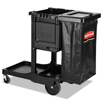 EXECUTIVE JANITORIAL CLEANING CART, 12.1W X 22.4D X 23H, BLACK