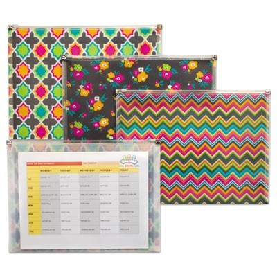 "FASHION ZIP 'N GO REUSABLE ENVELOPE, 1 SECTION, 13.13"" X 10"", ASSORTED, 3/PACK"